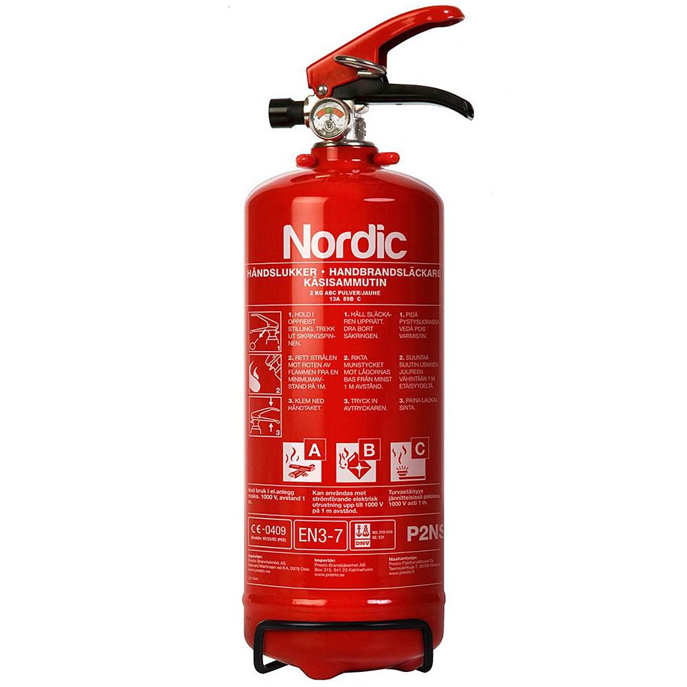 Nordic 2kg pulverslukker brannslukker